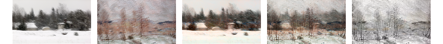 A five-panel artwork consisting of blurry, snowy Canadian scenes layered on top of each other.